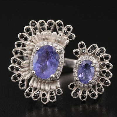 Sterling Silver Tanzanite, Cubic Zirconia and Black Spinel Flower Torque Ring