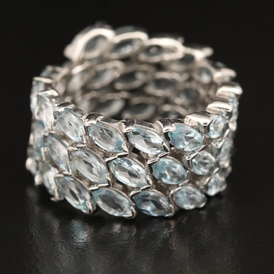 Sterling Topaz Eternity Band