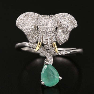 Sterling Elephant Bypass Ring Featuring Emerald, Black Spinel and Cubic Zirconia