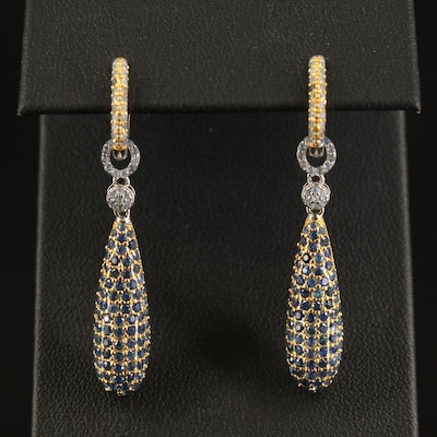 Sterling Sapphire Hoop Earrings with Enhancers