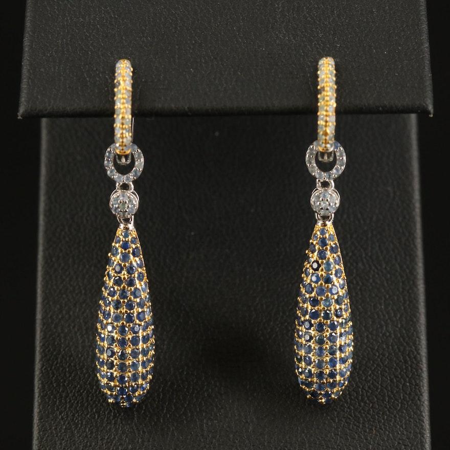 Sterling Sapphire Hoop Earrings with Enhancers