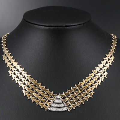 14K Geometric Diamond Necklace