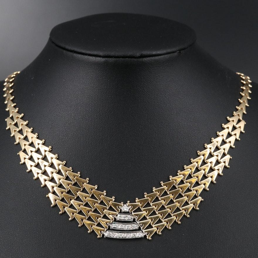 14K Geometric Diamond Necklace