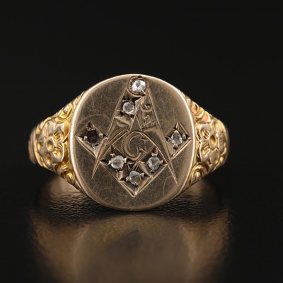 Vintage 10K Diamond Masonic Ring