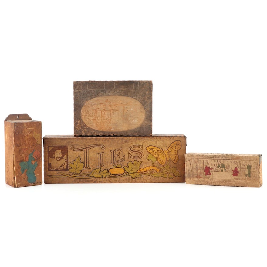 Wooden Pyrography Boxes Including Tie Box, Razor Box and More, Early 20th C.
