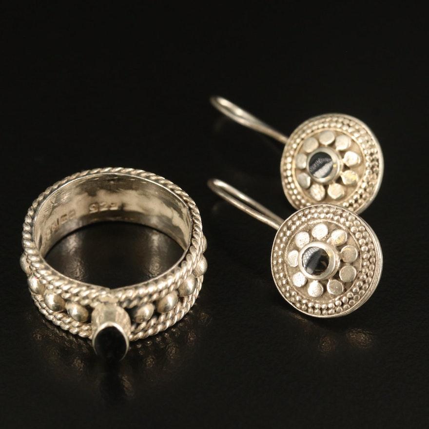 Mexican Sterling Enamel Ring with Drop Earrings