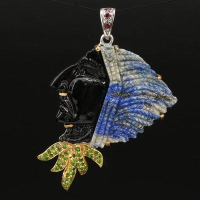 Sterling Profile Brooch Featuring Lapis Lazuli and Diopside