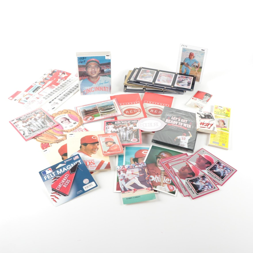 Cincinnati Reds Memorabilia Including  Cards, Media Guides, Rulers, Cassette