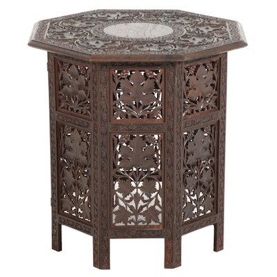 Anglo-Indian Carved Wood Folding Table With Brass Inlay