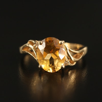 14K Citrine and Diamond Wave Ring