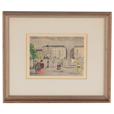 Claude Tabet Lithograph of City Square, Mid-20th Century