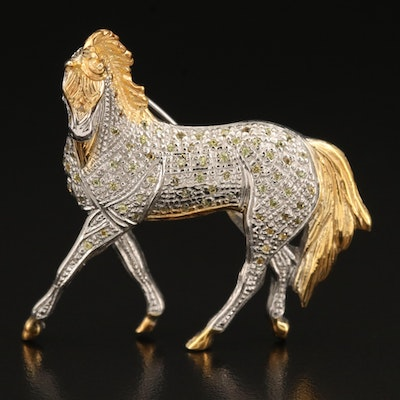 Sterling Sapphire Horse Brooch