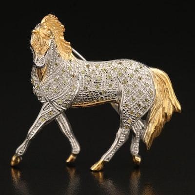 Sterling Sapphire Horse Brooch