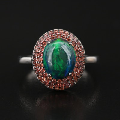 Sterling Opal and Pavé Sapphire Ring