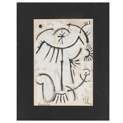 """Milo Abstract Mixed Media Painting """"Crucifixion,"""" 1965"""