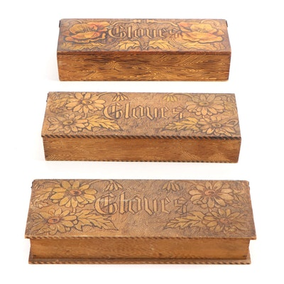 Art Nouveau Pyrographic Wooden Glove Boxes, Early 20th Century