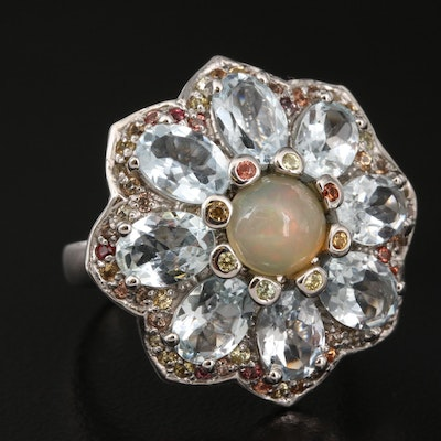 Sterling Opal, Aquamarine and Sapphire Flower Ring