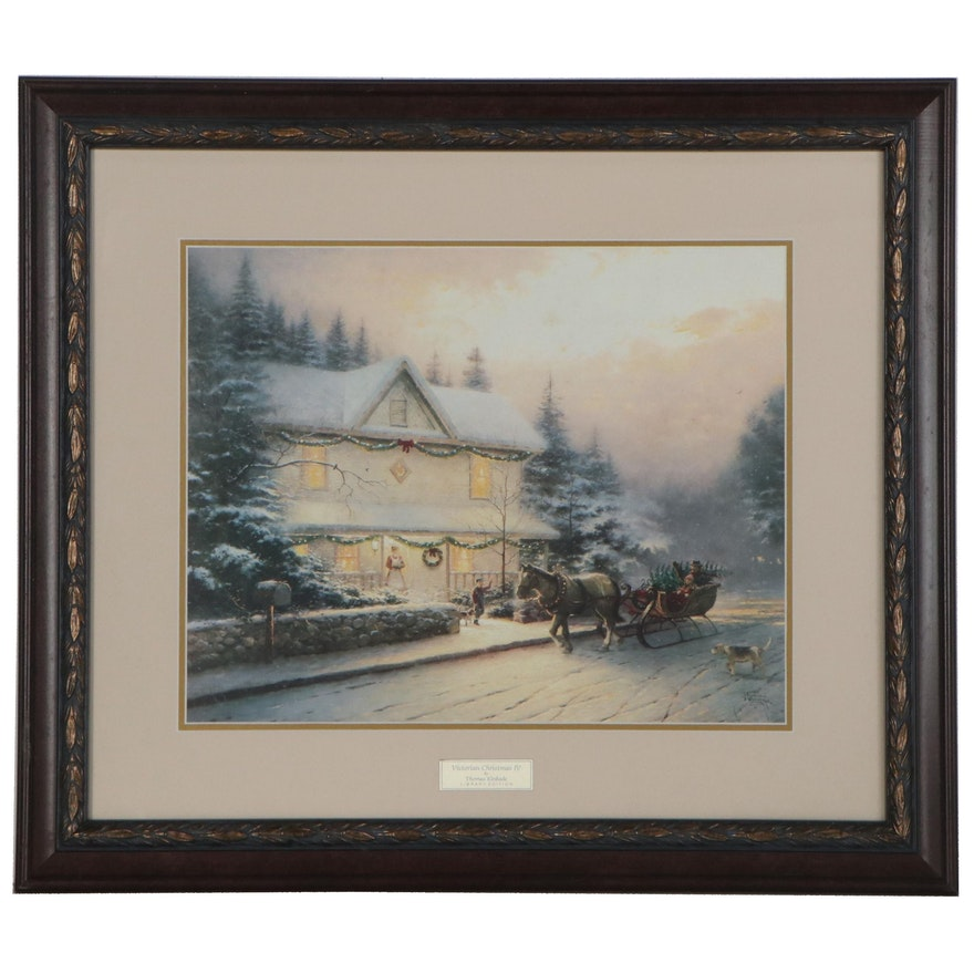 """Offset Lithograph after Thomas Kinkade """"Victorian Christmas IV,"""" 21st Century"""