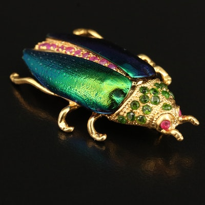Sterling Corundum and Diopside Beetle Brooch