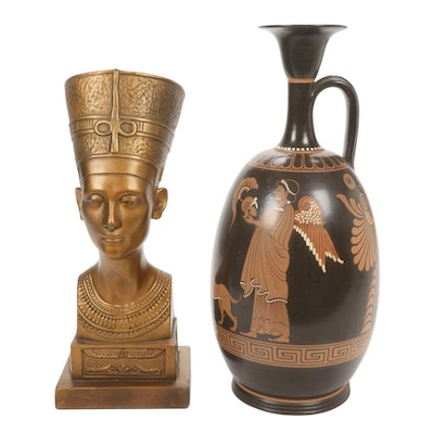 Marwal Industries Nefertiti Bust with Handpainted Urn with Greek Motif