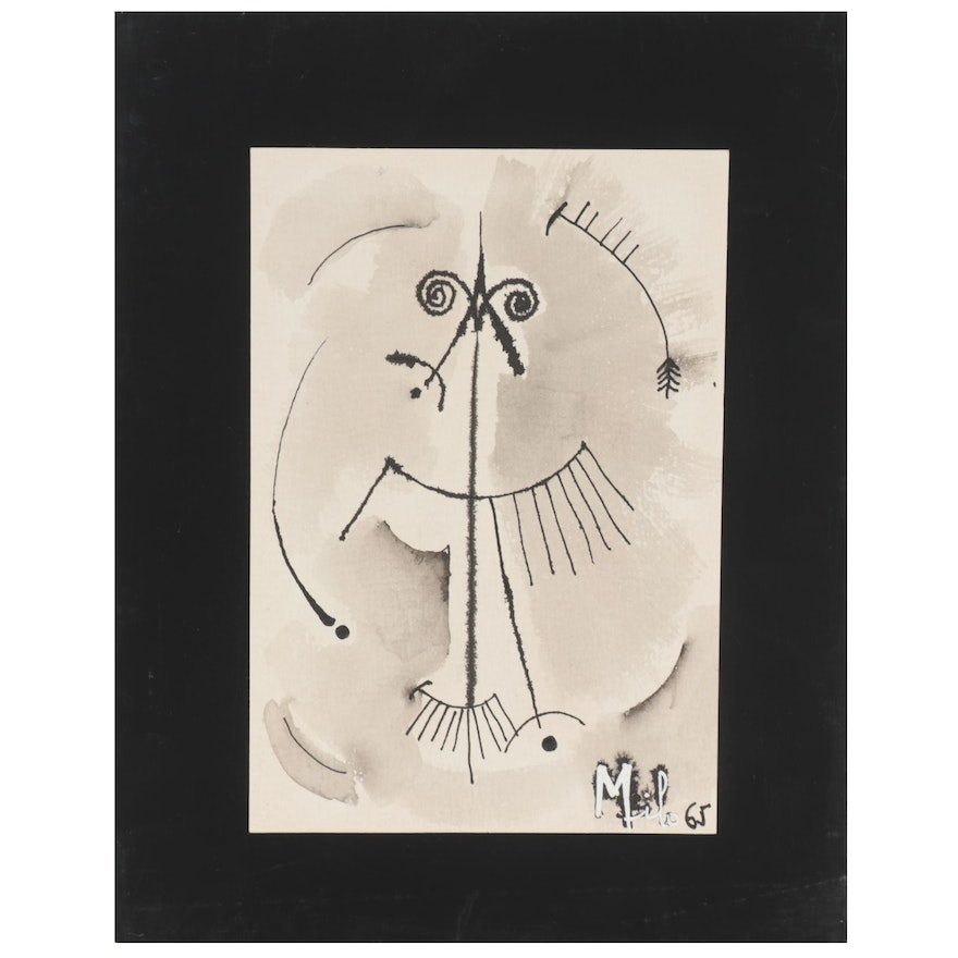 Milo Abstract Portrait Ink Drawing, 1965