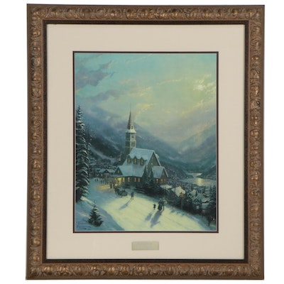 "Offset Lithograph after Thomas Kinkade ""Moonlit Village,"" 21st Century"