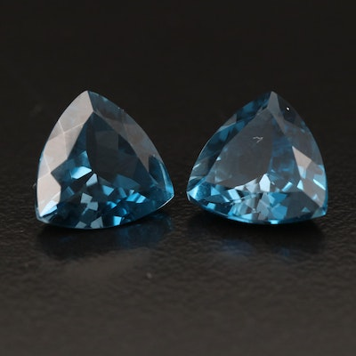 Matching Pair of Loose 7.52 CTW London Blue Topaz
