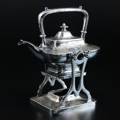 Meriden Brittania Co. Silver Plate Chased Tea Kettle and Stand, Early 20th C.