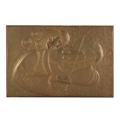 Chased and Repoussé Brass Panel of Musician, circa 1972