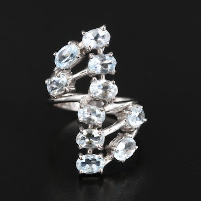 Sterling Aquamarine Bypass Ring