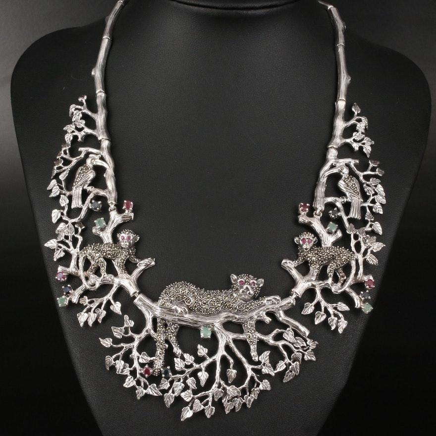 Sterling Multi-Gemstone Flora and Fauna Bib Necklace