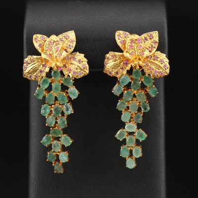Sterling Beryl and Corundum Floral Cascade Earrings
