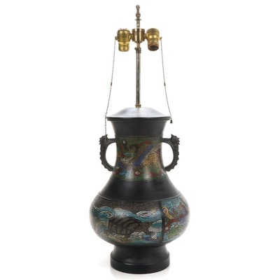 Japanese Bronze Champlevé and Fenghuang Handled Jar Table Lamp,  Mid-20th C