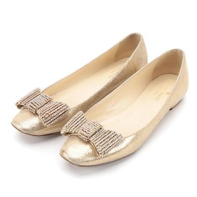 Kate Spade New York Niesha Rhinestone Bow Gold Metallic Glitter Flats
