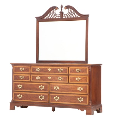 Dixie Furniture Colonial Style Cross-Banded Dresser with Mirror