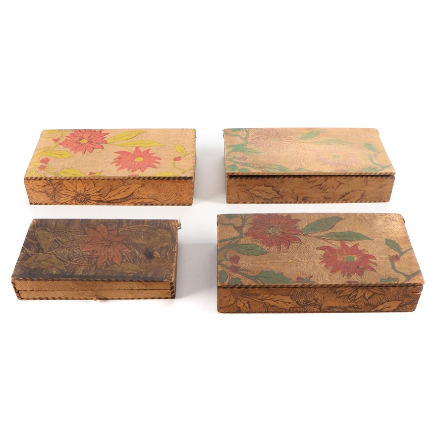 Art Nouveau Pyrography Wooden Handkerchief and Vanity Boxes, Early 20th Century