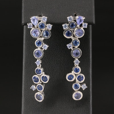 Sterling Kyanite and Tanzanite Drop Earrings
