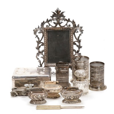 Silver Plate Office Accessories, Including Ronson Table Lighters