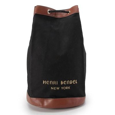 Henri Bendel New York Black and Tan Backpack Bucket Bag