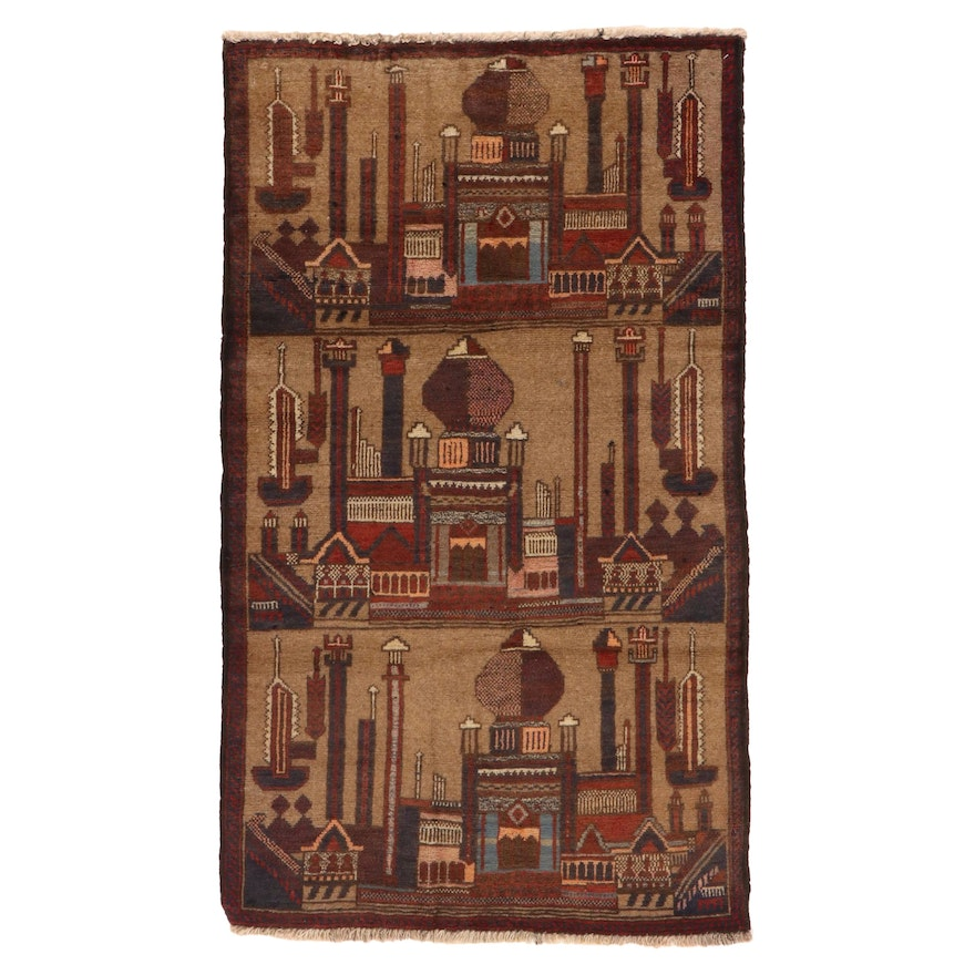 2'8 x 4'9 Hand-Knotted Afghan Baluch Pictorial Accent Rug