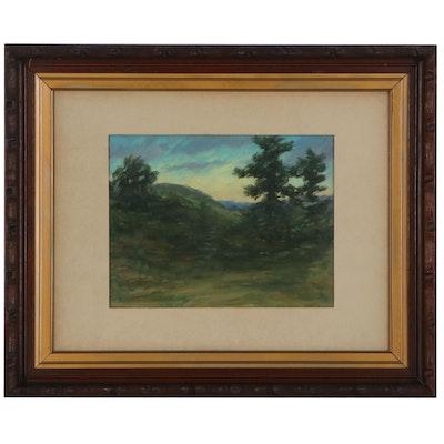 John Franklin Earhart Landscape Gouache Painting, 1910