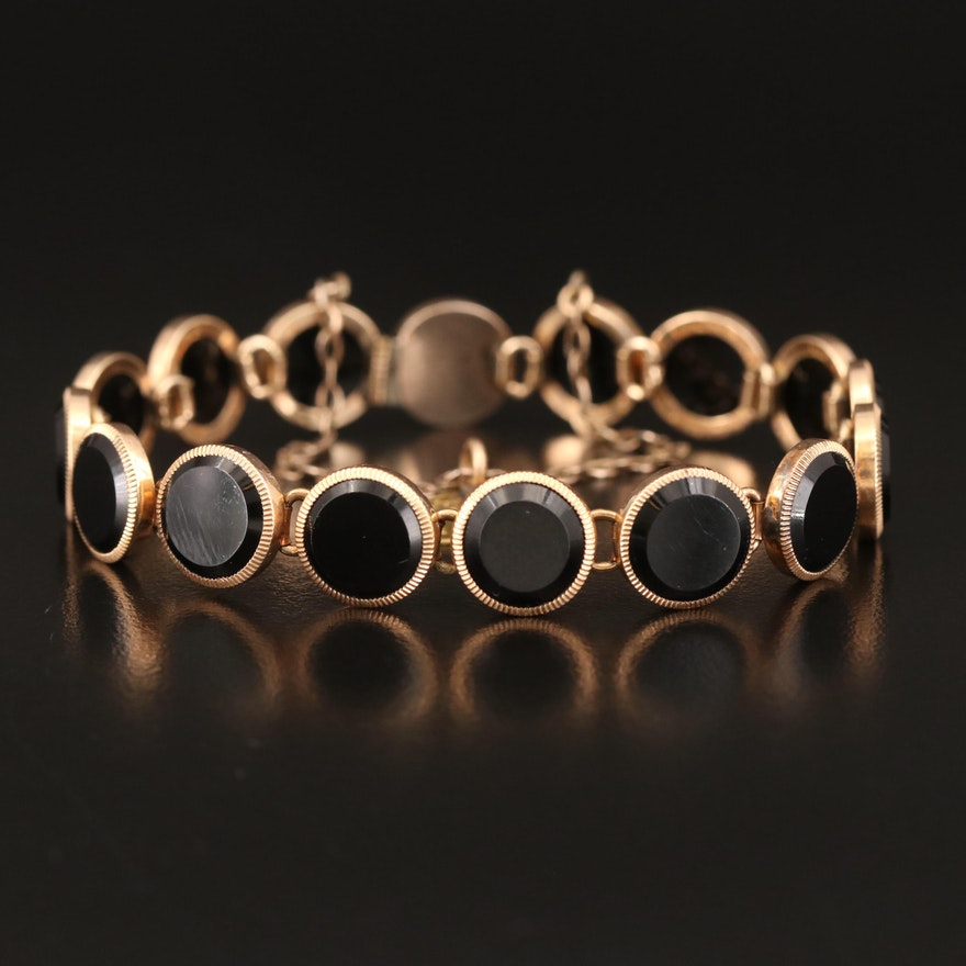 Victorian Black Glass Mourning Bracelet with California Gold Coin Accent