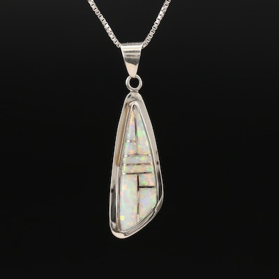 Sterling Opal Inlay Necklace