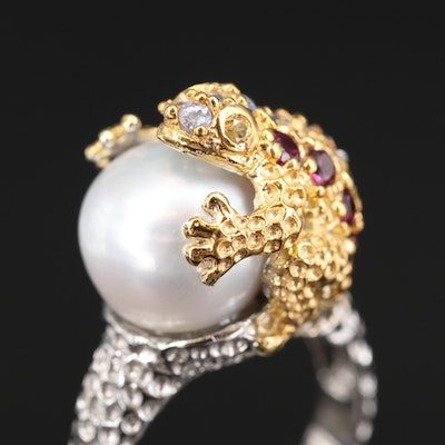 Sterling Pearl, Rhodolite Garnet and Sapphire Frog Ring