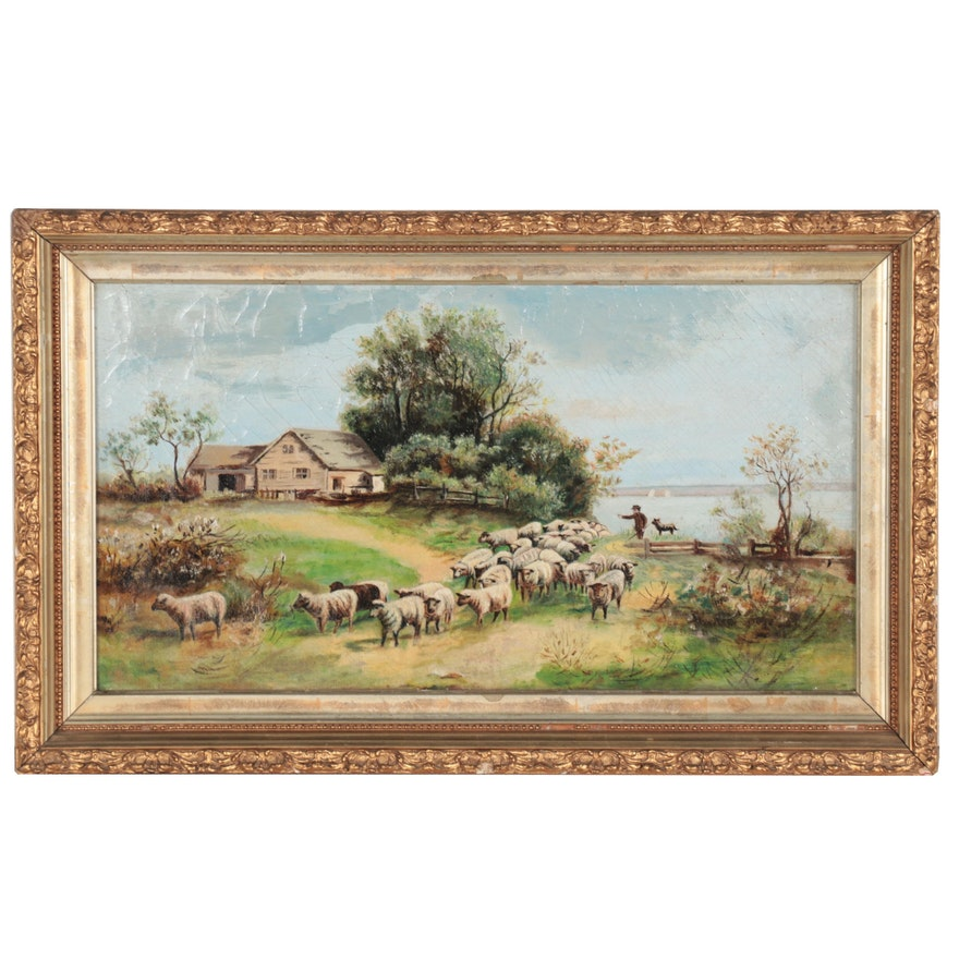 Pastoral Oil Painting with a Shepherd, Late 19th to Early 20th Century