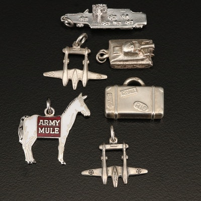 Sterling and 900 Silver Charm Selection Including Tank, Battle Ship and Plane