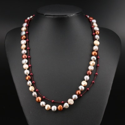 Pearl and Glass Necklaces with Sterling Clasps