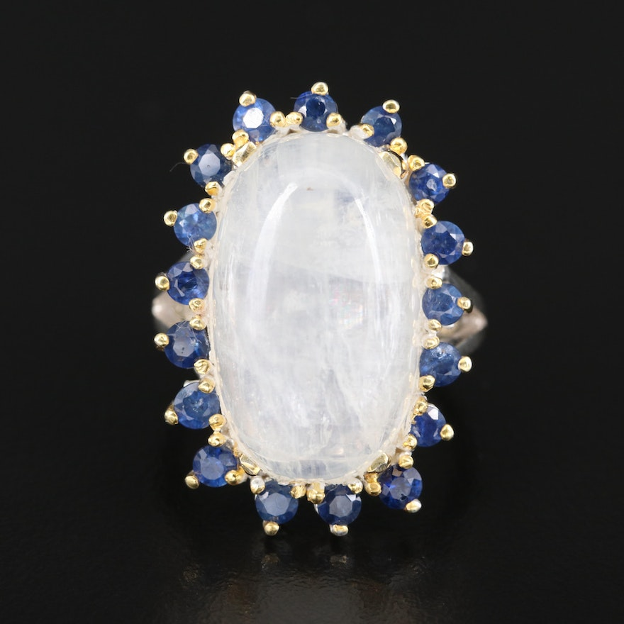 Sterling Moonstone and Sapphire Ring