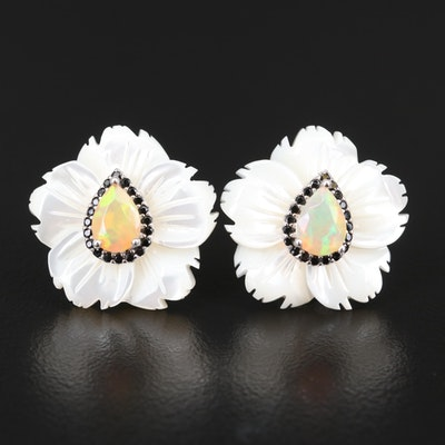 Sterling Opal, Mother of Pearl and Cubic Zirconia Floral Earrings