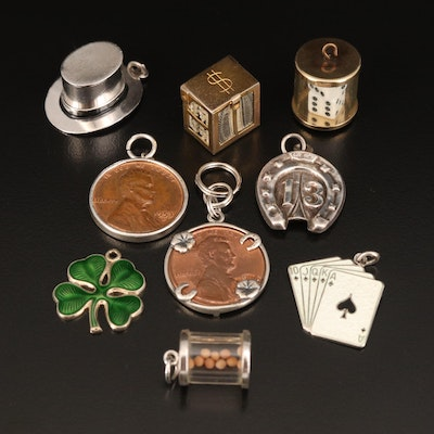 Vintage Sterling Silver Luck Themed Charms Featuring Lincoln Coins